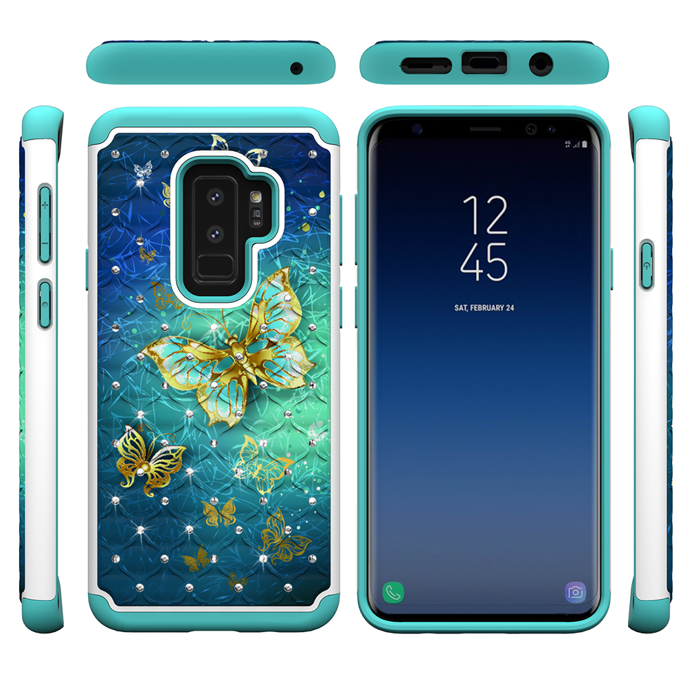 Galaxy S9+ Plus Case Bumper, Allytech Silicone Rubber Hybrid Hard Shell Dual Layer Full Body Protective Rugged High Impact Girls Women Case Cover for Samsung Galaxy S9+ Plus, Gold Buttefly