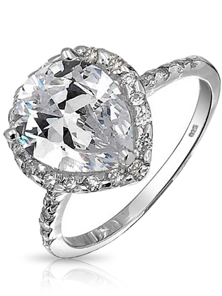 Princess Kylie Pear Shape Center Cubic Zirconia Halo Set Bridal Ring Rhodium Plated Sterling Silver