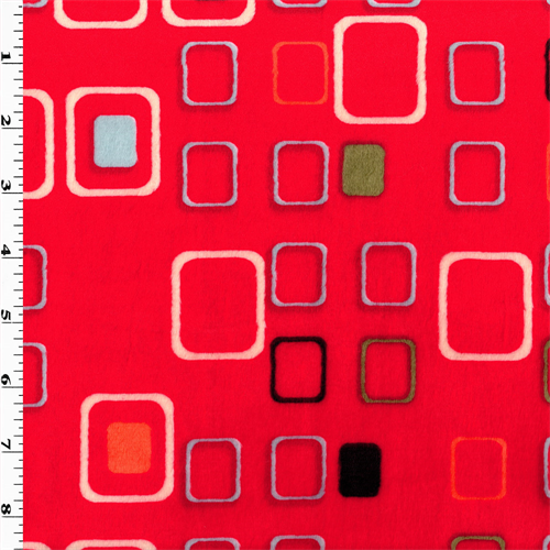 Red/Multi Square Minky, Fabric By the Yard