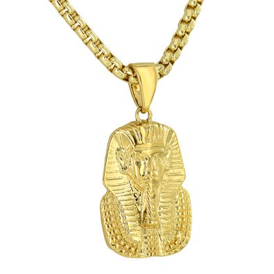 Egyptian Pharaoh Pendant Charm 18K Yellow Gold Finish Necklace Chain Solid Back 18k Solid Gold Pendant
