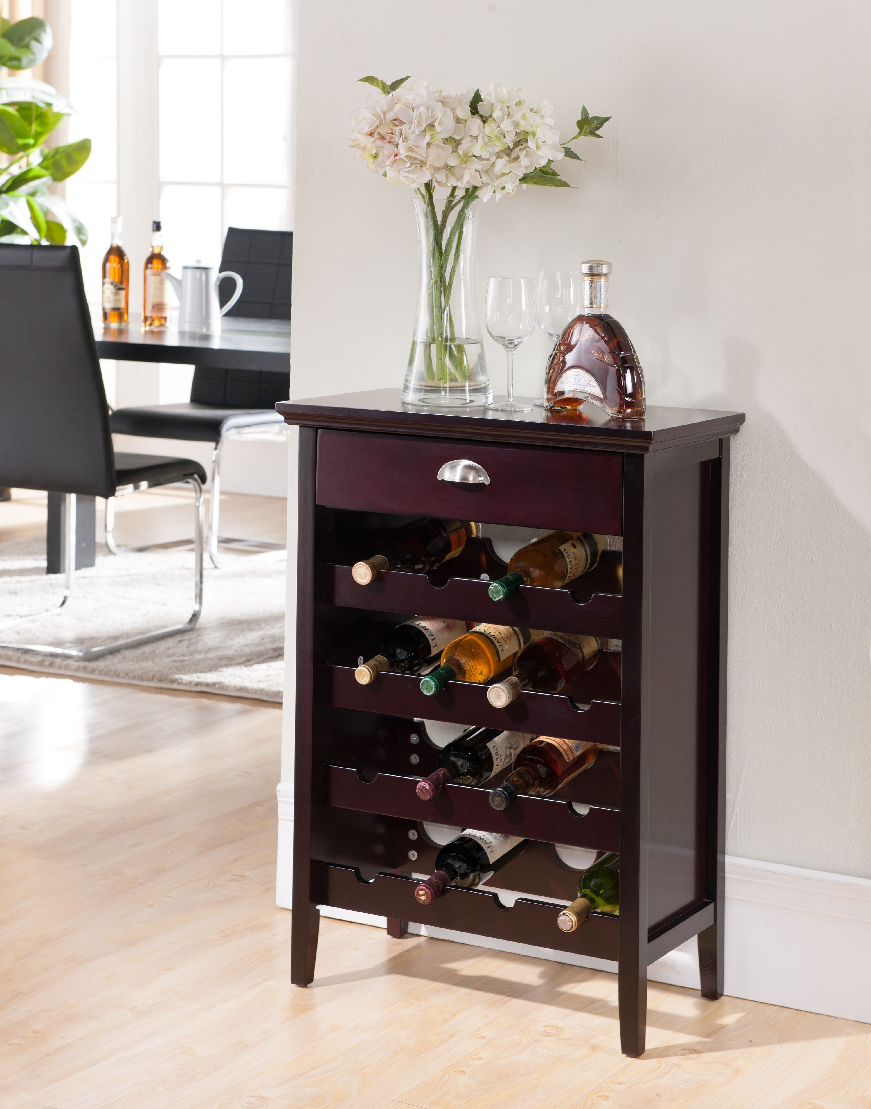 Antonio Dark Cherry Wood Contemporary Wine Rack Buffet Display Cabinet With Storage Drawer by Pilaster Designs