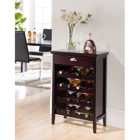 Cherry Hill Wine Bar (Antonio Dark Cherry Wood Contemporary Wine Rack Buffet Display Cabinet With Storage Drawer )