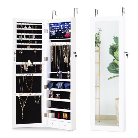 Cloud Mountain Jewelry Cabinet Organizer 6 LEDs Jewelry Armoire Lockable Wall Door Mounted Hanging Jewelry Cabinet Box with Mirror 2 Drawers Bedroom, Living Room, Cloakroom, Closet