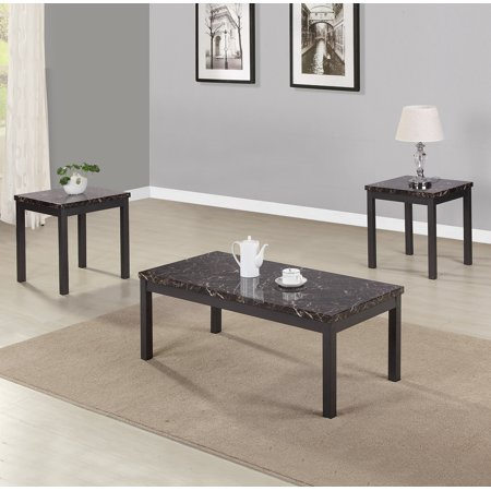 - JUMPER 3 PCS Occasional Table Set Modern Faux Marble Coffee and End Table Set with Metal Legs