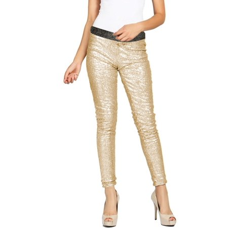 Women's Embellished All Over Sequin Sparkle Dance Leggings Gold L - Gold Sparkle Leggings