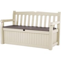 Keter Eden 70 Gallon Storage Bench Deck Box for Patio Furniture, Front Porch Decor and Outdoor Seating  Perfect to Store Garden Tools and Pool Toys