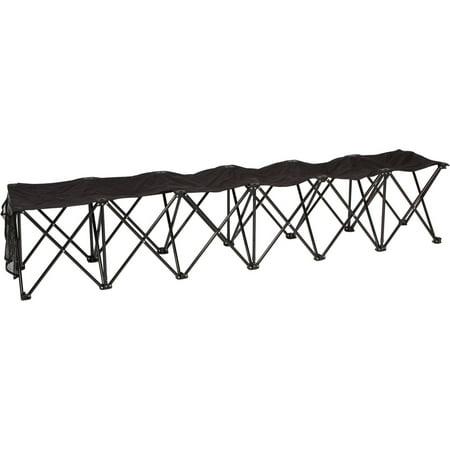 Trademark Innovations 6 Person Folding Sports Sideline Bench Black