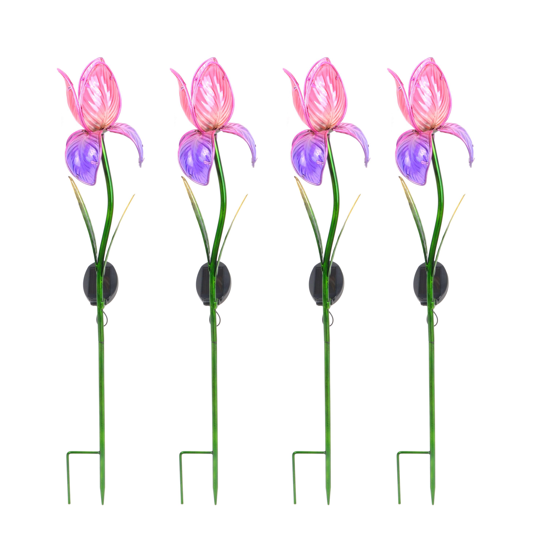 Better Homes & Gardens Outdoor Solar Iris Garden Stake - Set of 4