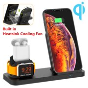 3 in 1 Wireless Fast Charger Pad Stand Charging Dock Built in Heatsink Cooling Fan for Apple Watch Series 4/3/2 & forAirpods, for iPhone Xs/XS MAX/XR/X/8/8 Plus, for Samsung S10 S9