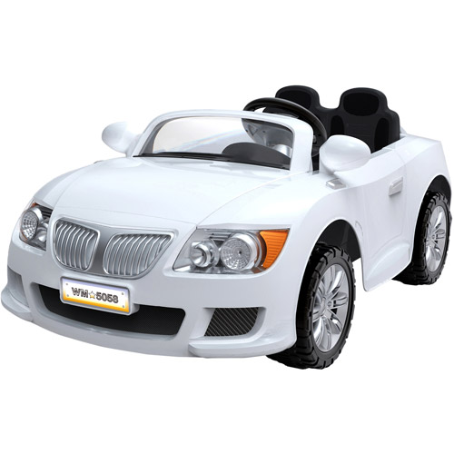 Convertible Car 12-Volt Battery-Powered Ride-on, White