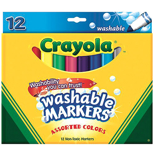 Crayola Broad Line Washable Markers 12-Pack, Assorted Colors