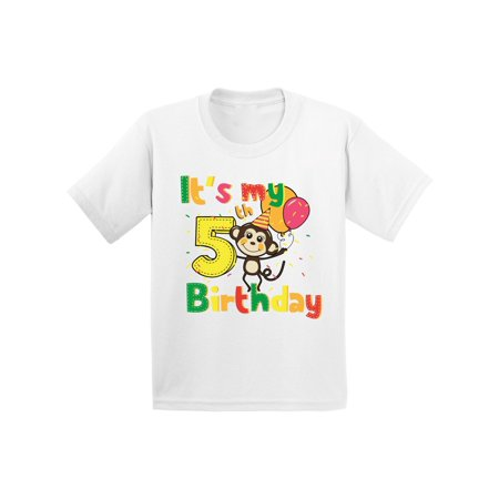 Awkward Styles Monkey Birthday Shirt for Kids Monkey Birthday Party 5th Birthday Party It's My 5th Birthday Shirt I'm Five Shirt Birthday Boy Tshirt Monkey Birthday Girl Shirt Gifts for 5 Year Old (Year Monkey)
