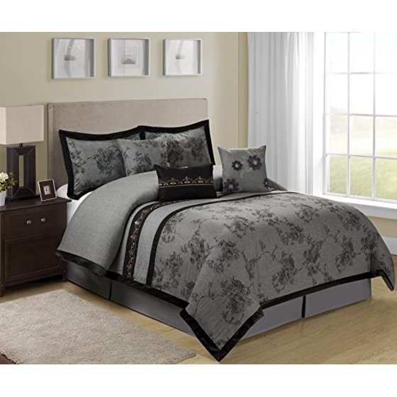 7 piece shasta gray bed in a bag clearance bedding - Queen size bedroom sets clearance ...