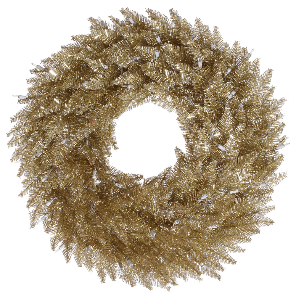 "Unlit 36"" Champagne Fir Artificial Wreath - 320 PVC Tips"