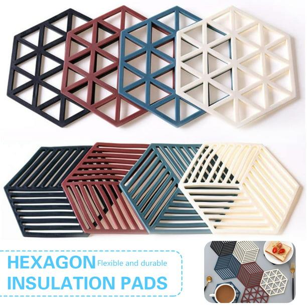 Desktop Hexagon Silicone Placemat Coaster Heat-insulated Non-slip Mat Durable