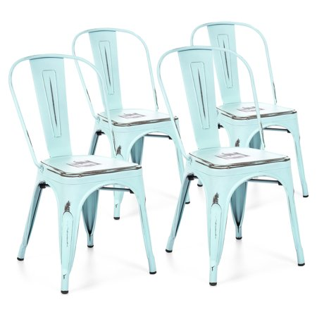 Best Choice Products Set Of 4 Stackable Industrial Distressed Metal Bistro Dining Side Chairs for Home, Dining Room, Cafe - Blue