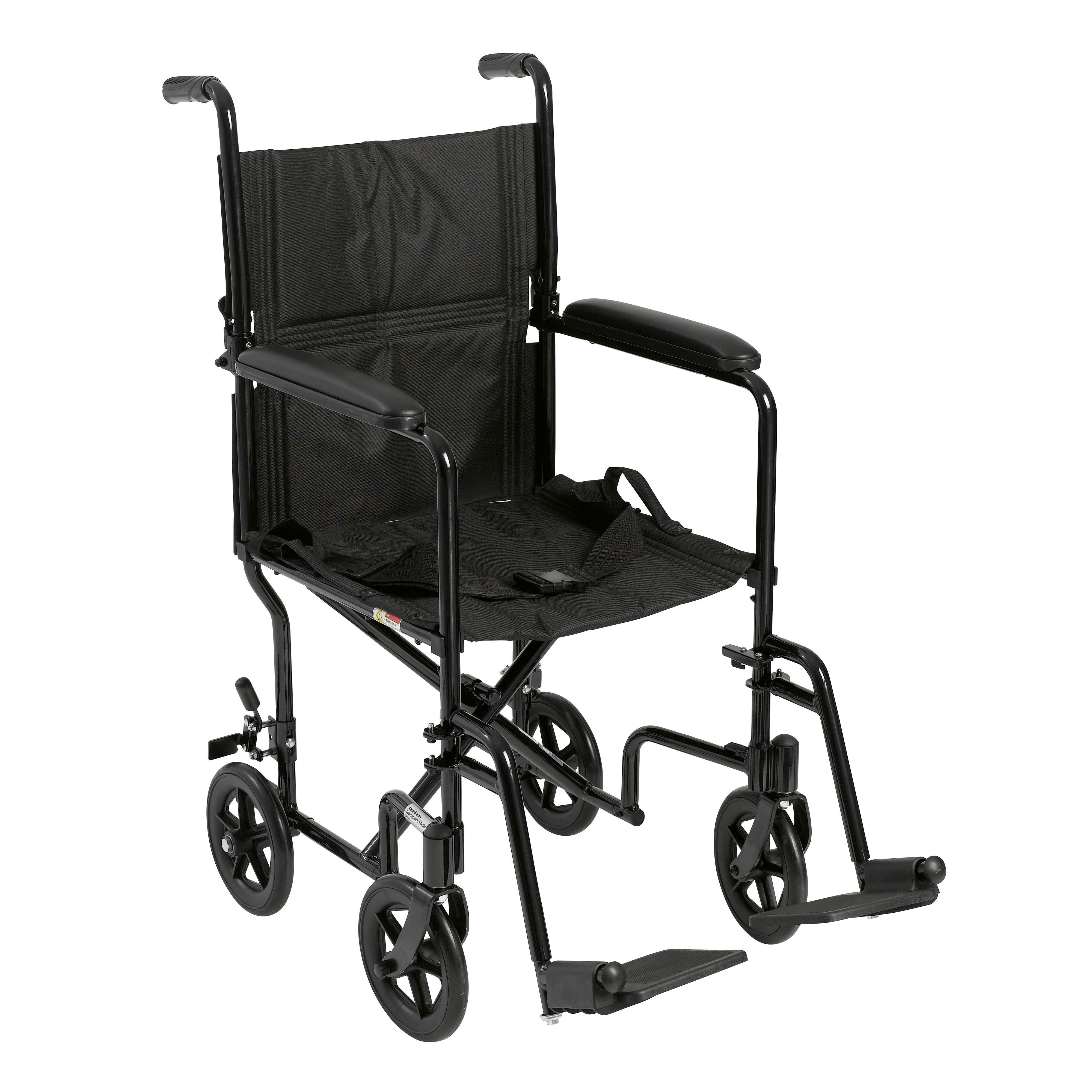 "Drive Medical Lightweight Transport Wheelchair, 19"" Seat, Black"
