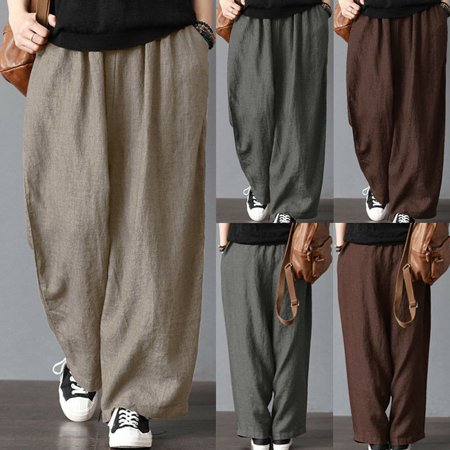 New Cotton Linen Wide Leg Pant Men Fashion Casual Loose Wide Leg Pants Harem Trousers Oversize Vintage Trousers Plus Size S-3XL