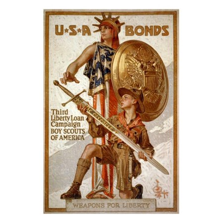 U*S*A Bonds, Third Liberty Loan Campaign, Boy Scouts of America Weapons for Liberty Print Wall Art By Joseph Christian -