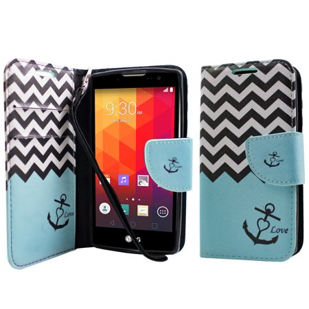 Dual Pocket Case - ∞ for LG SPIRIT H440N H420 ESCAPE 2 H445 DUAL SIM Case PU Leather Flip Fold Cover Stand Wallet Card Pocket Anchor Teal ∞