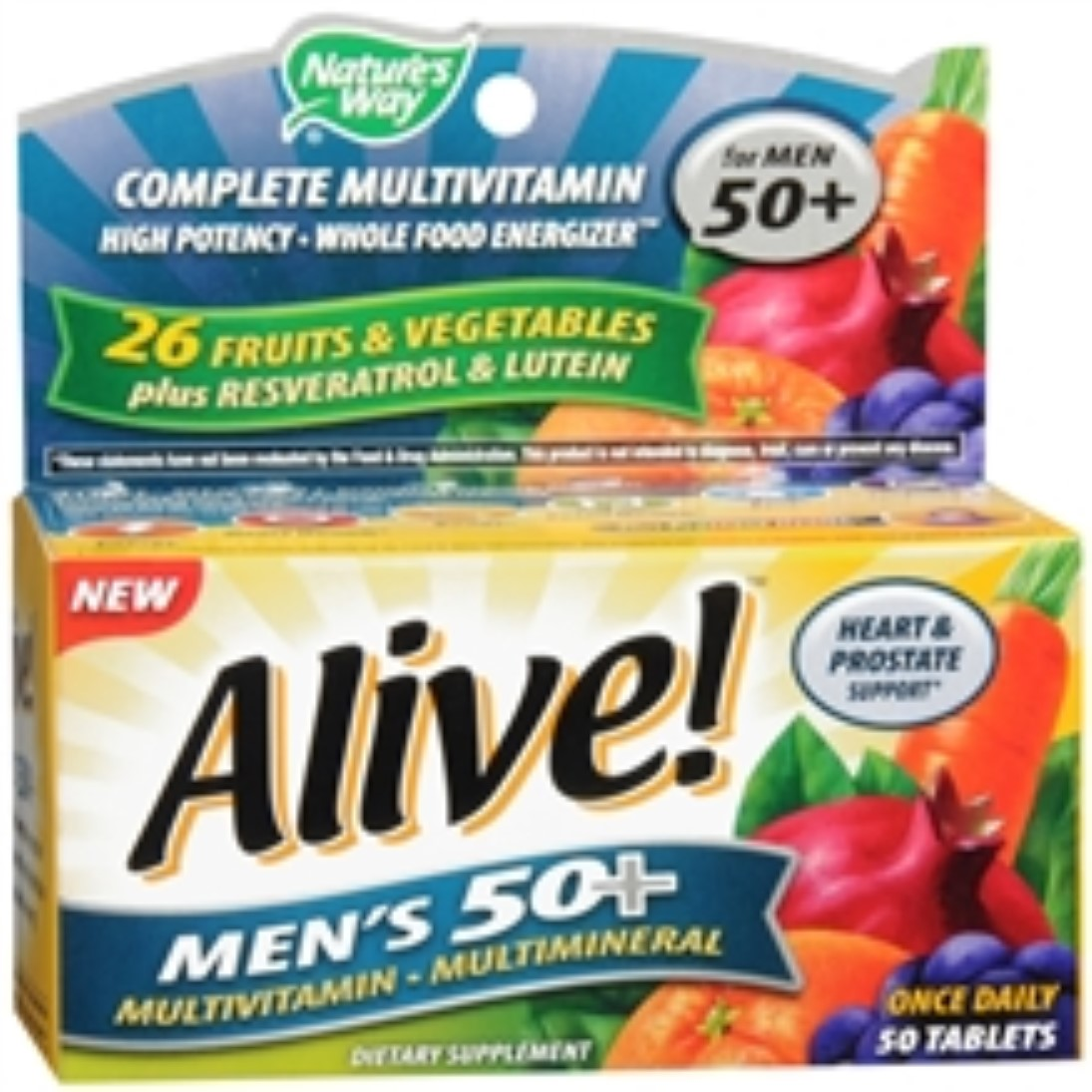 Alive! Nature's Way Once Daily Men's 50+ High Potency Multivitamin 50 ea (Pack of 3)