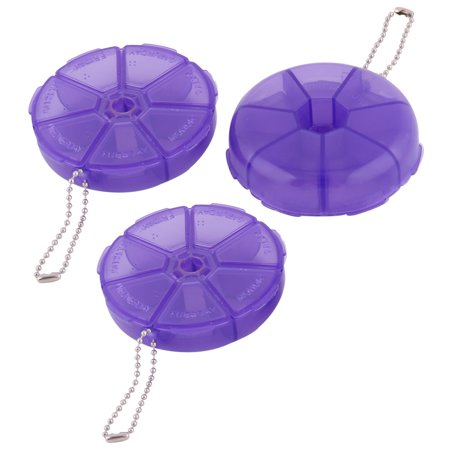 Outdoor Plastic Round 7 Compartments Capsule Pills Storage Box Case Purple 3pcs (Purple Storage Bins)