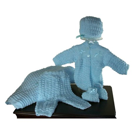 Sweater Set For Baby Boy, Five Piece Set - Blanket, Hat, Booties, Sweater, Pants, Size 0-3 MO, Color Blue ()