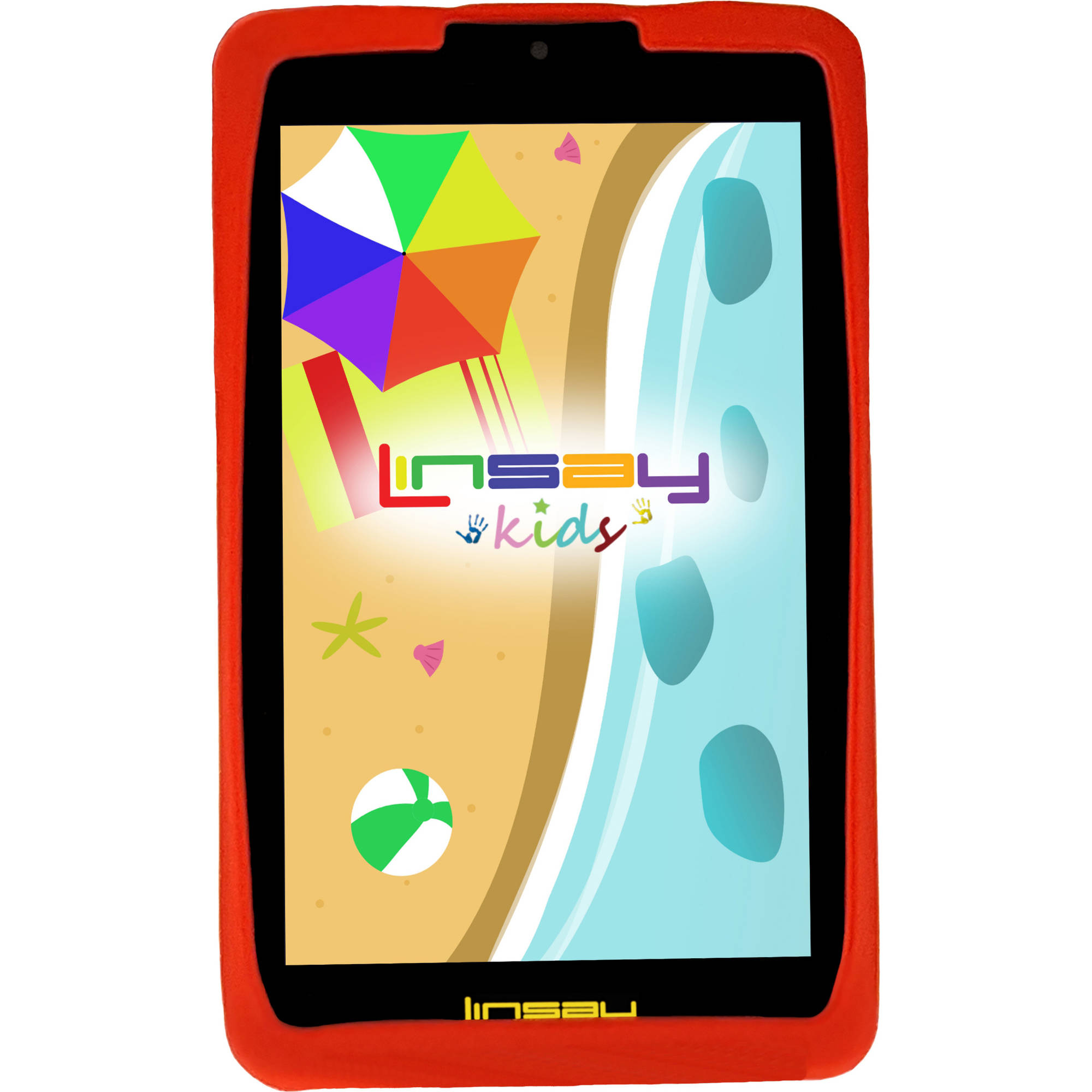"LINSAY Kids Funny Tab 7"" 1280x800 IPS Touchscreen Tablet PC Featuring Android 4.4 (KitKat) Operating System Bundle with Red Kids Defender Case"
