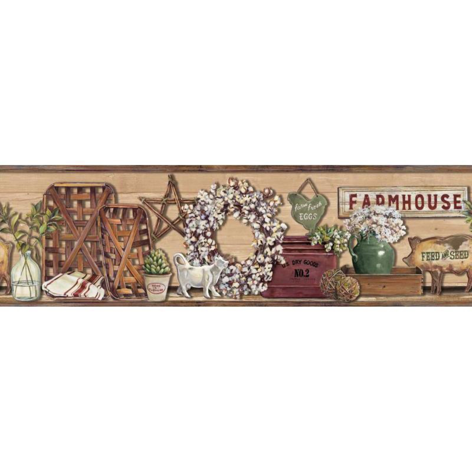York Wallcoverings Rustic Living Farmhouse Shelf Wallpaper Border
