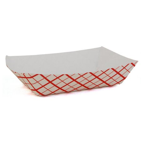 50 Red Checkered Paper  Food Tray, 1/4-lb (Checkered Paper)
