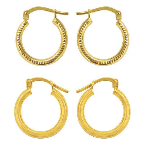 Gold-Tone Hoop Earrings Duo