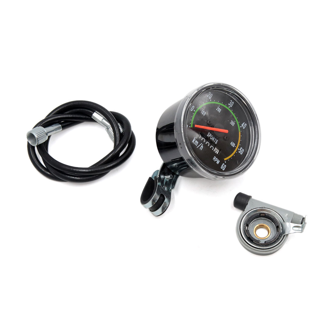 Universal Black Mechanical Resettable Odometer Speedometer for Exercycle Bicycle
