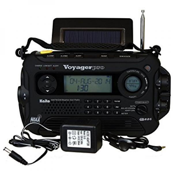 Kaito Voyager Pro KA600 Digital Solar Dynamo,Wind Up,Dynamo Cranking AM FM LW SW & NOAA Weather Emergency Radio with Flashlight, Reading... by Kaito