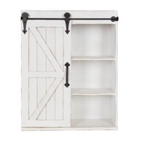 Cates Wood Wall Storage Cabinet with Sliding Barn Door, Rustic White