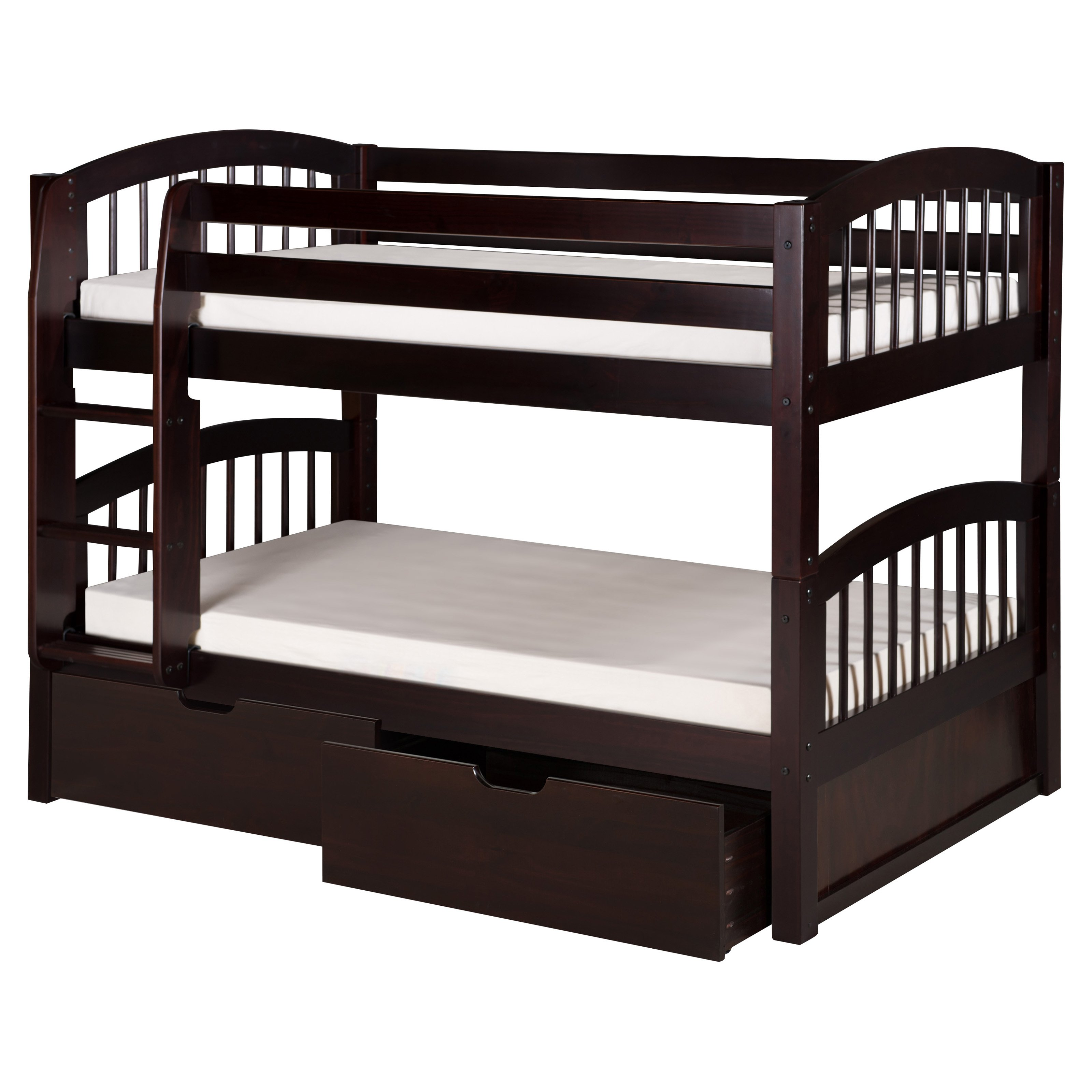 bedz king stairway bunk bed twin over twin and twin trundle in  - bedz king stairway bunk bed twin over twin and twin trundle in cappuccino walmartcom