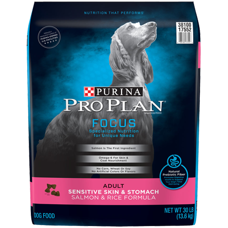 Potato Dry Food Formula - Purina Pro Plan Sensitive Stomach Dry Dog Food; FOCUS Sensitive Skin & Stomach Salmon & Rice Formula - 30 lb. Bag