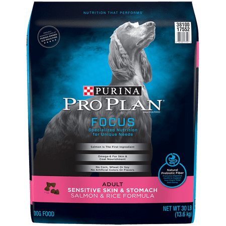 Bites Dry Food - Purina Pro Plan Sensitive Stomach Dry Dog Food; FOCUS Sensitive Skin & Stomach Salmon & Rice Formula - 30 lb. Bag