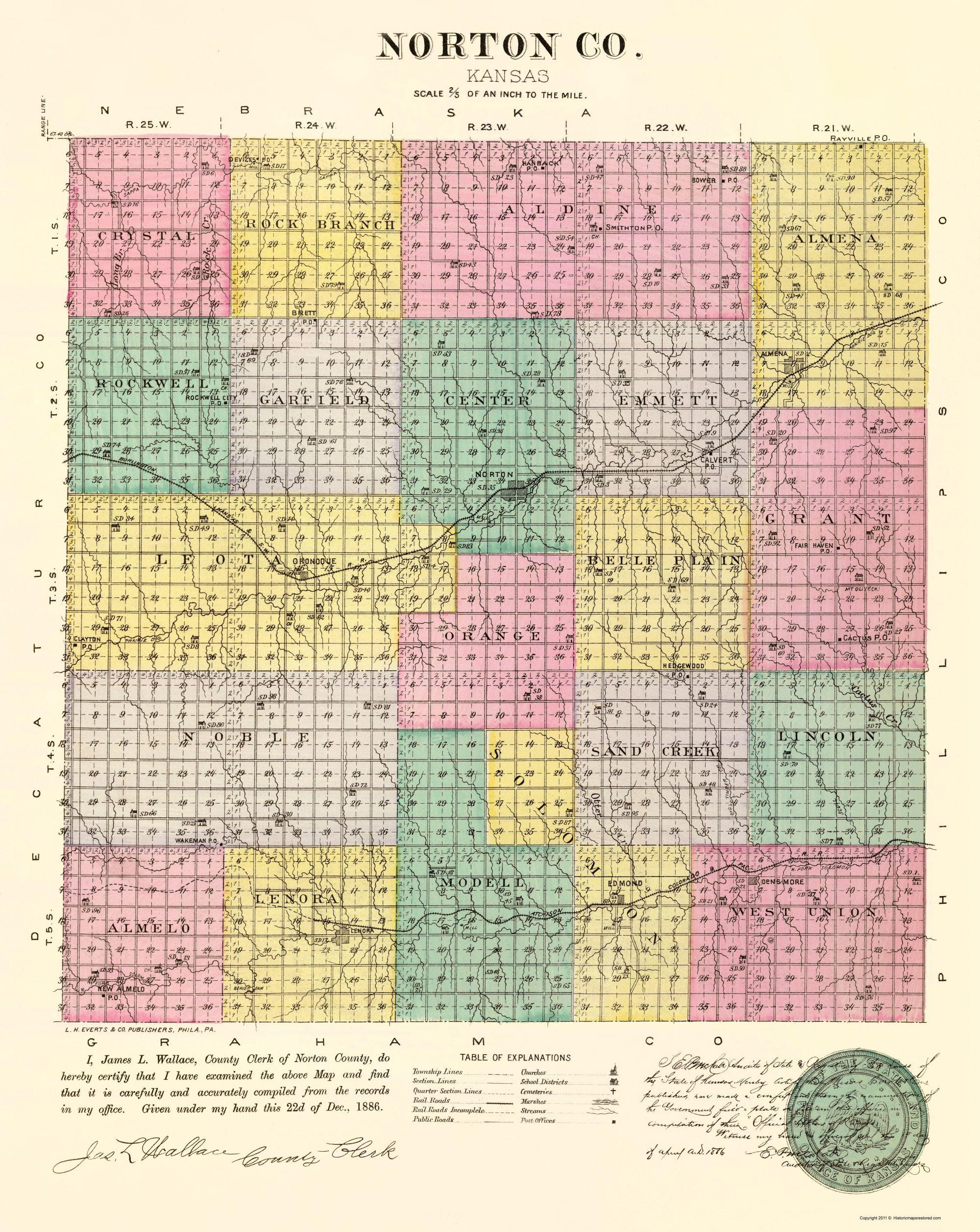Old Kansas Map.Old County Map Norton Kansas Everts 1887 23 X 28 94 Walmart Com
