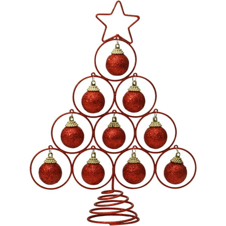 Holiday Time Christmas Ornaments 10 5  Red Glitter Tree Topper