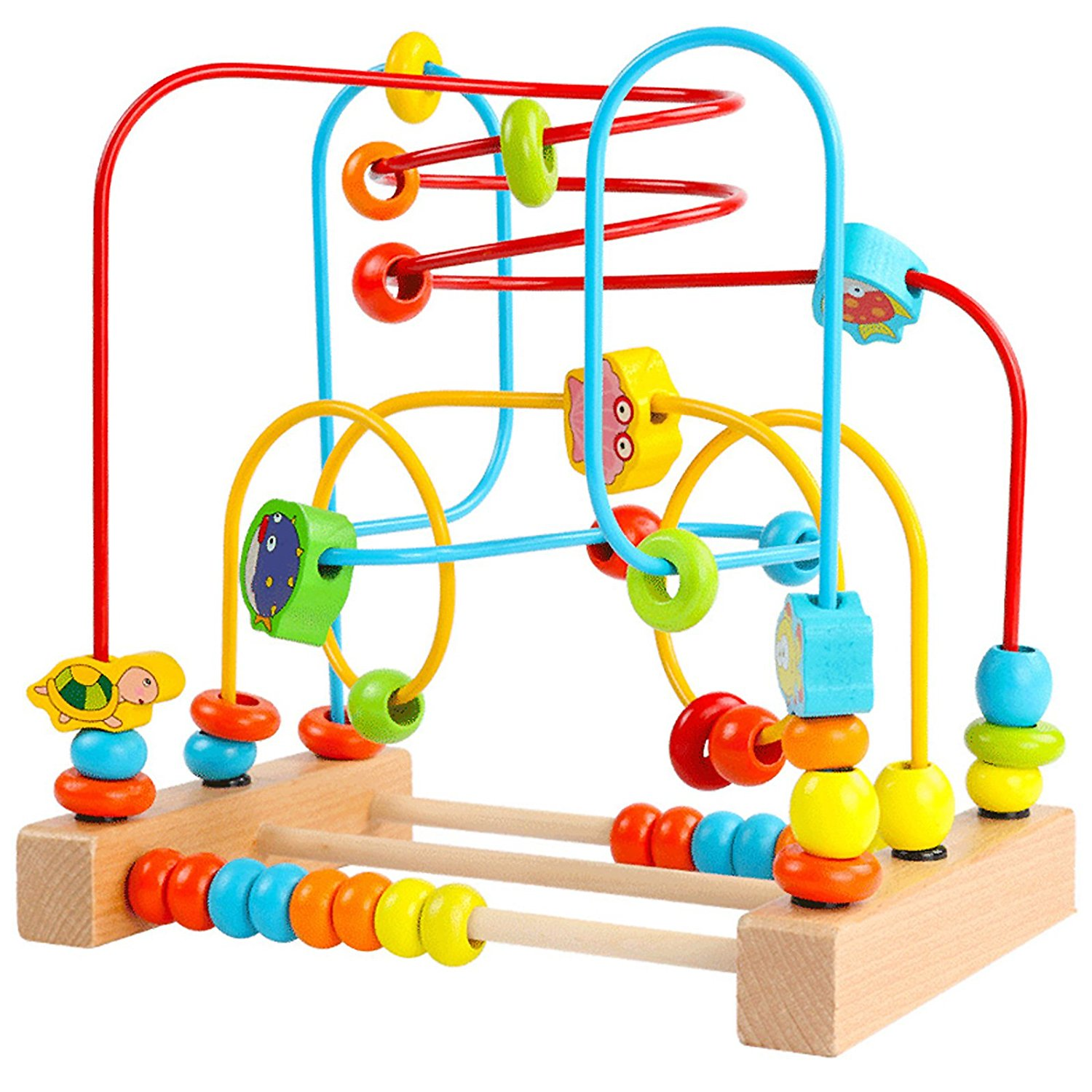 Timy Bead Maze Roller Coaster Wooden Educational Circle Toy for Toddlers