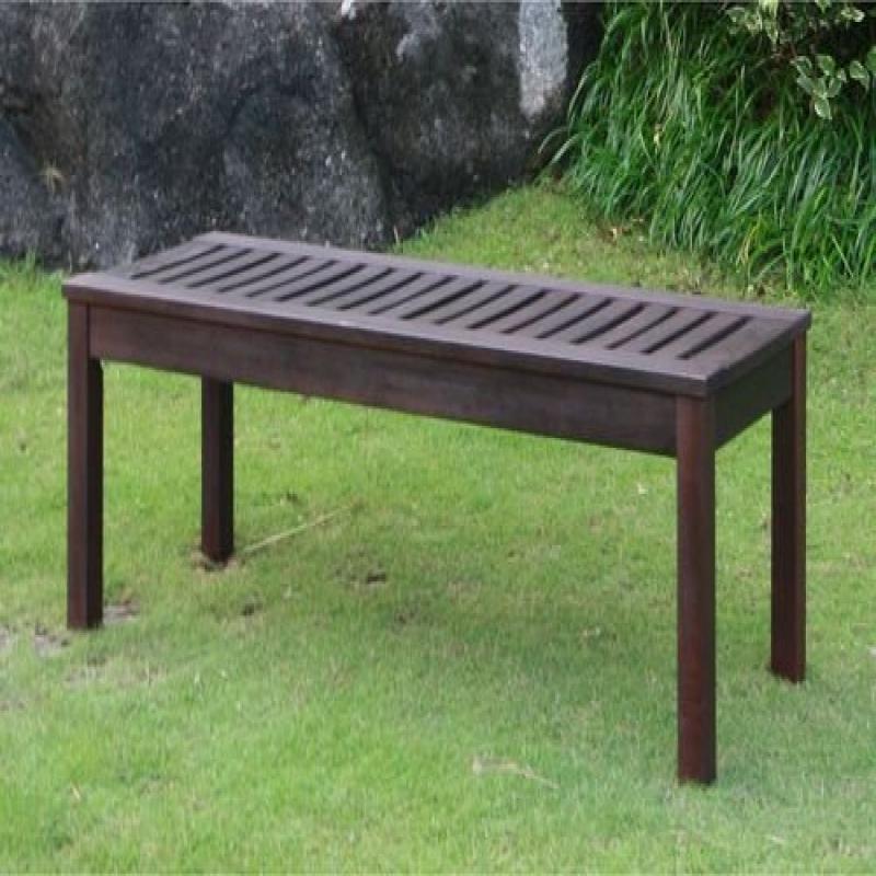 Delahey Outdoor Garden Bench, Dark Brown by