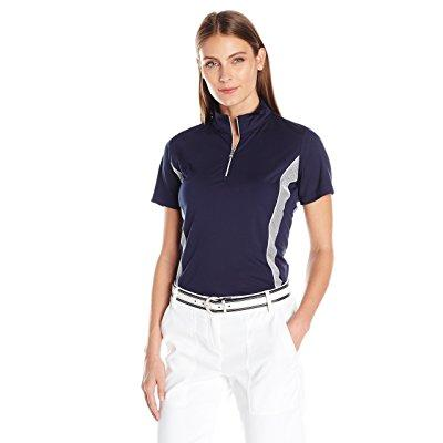 Greg Norman women's short sleeve mesh trim polo, navy, small