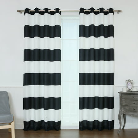 - Quality Home Oxford Rugby Stripe Curtains - 52