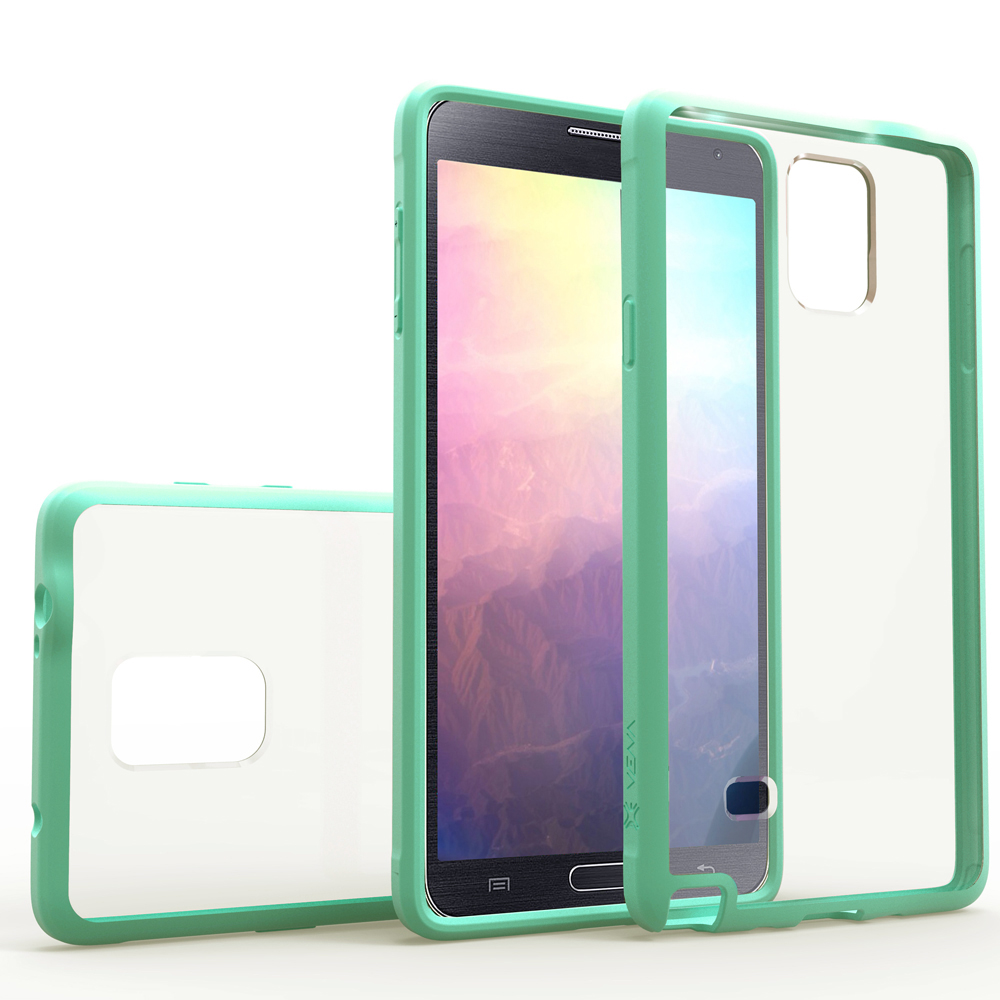 Galaxy Note 4 Case - VENA [RETAIN] Slim Fit Hybrid Case with ShockProof TPU Bumper Clear Back Cover for Samsung Galaxy Note 4 (Teal)