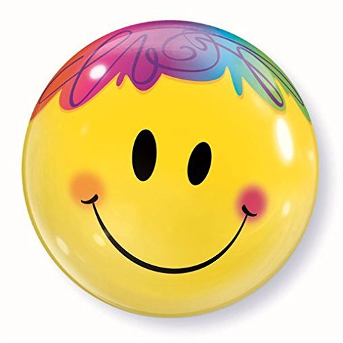 "Rainbow Yellow Smiley Face 22"" Bubble Balloon Qualatex"