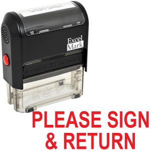 Rubber Stamp Please Sign (PLEASE SIGN and RETURN Self Inking Rubber Stamp - Red Ink)