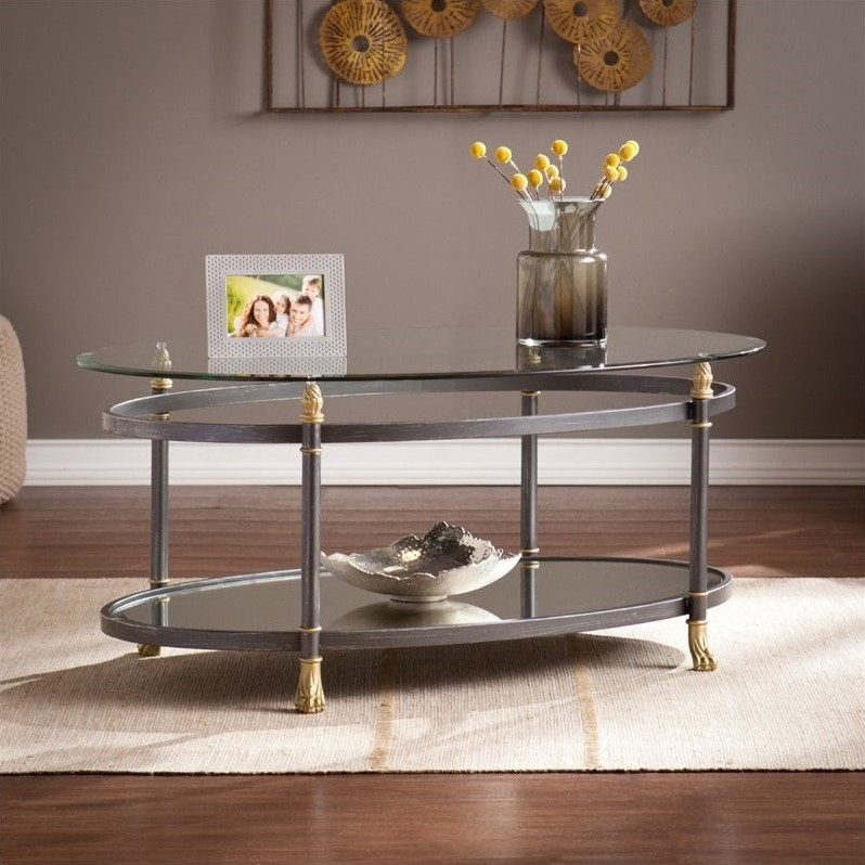 Southern Enterprises Allesandro Oval Glass Coffee Table in Gold