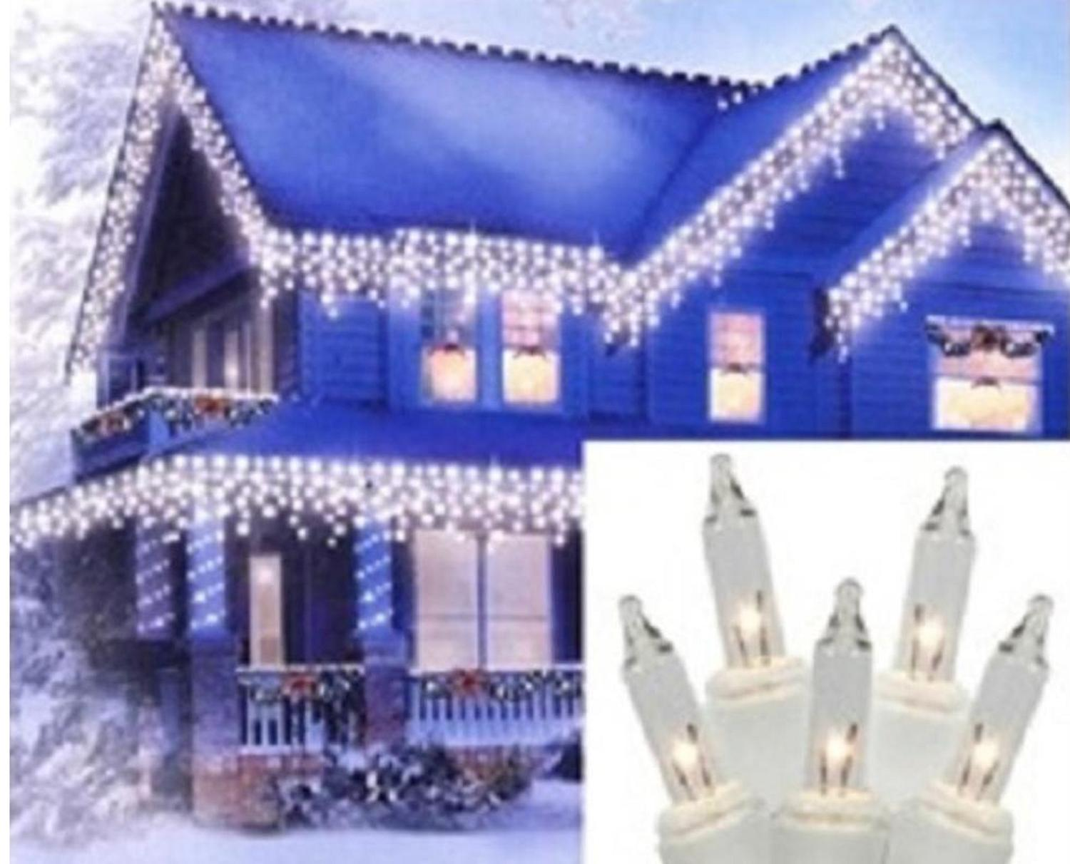 "Set of 300 Heavy Duty Clear Icicle Christmas Lights 3"" Spacing White Wire by Brite Star"
