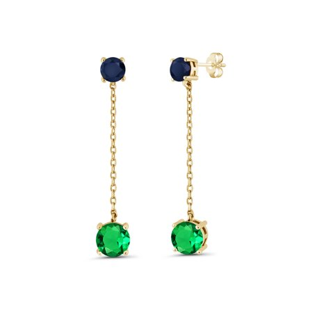 3.64 Ct Green Simulated Emerald Blue Sapphire 18K Yellow Gold Plated Silver Earrings