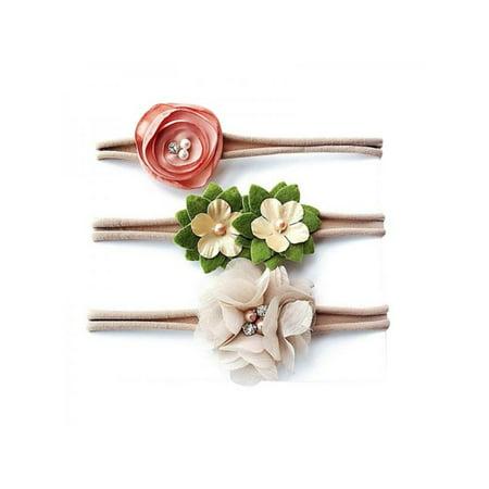 3 Pcs Baby Girls Lovely Flower Headwear Toddler Kids Hair Band Accessories - Flowergirl Accessories